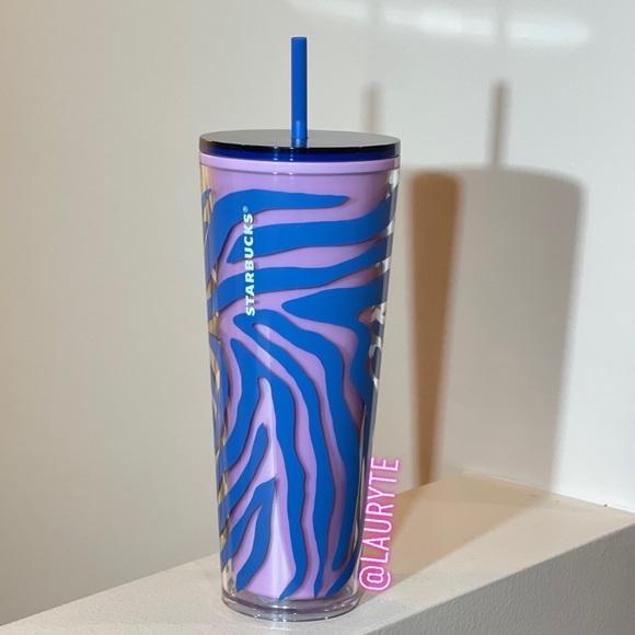 Starbucks Blue Pink Zebra Print Tumbler